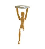Wood mannequin with CD-rom. On white background Stock Image
