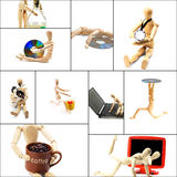 Wood mannequin collage. Different pose and concepts wood mannequin collage collection Stock Photos
