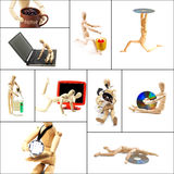 Wood mannequin collage. Different pose and concepts wood mannequin collage collection Royalty Free Stock Photography