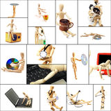 Wood mannequin collage. Different pose and concepts wood mannequin collage collection Royalty Free Stock Photos