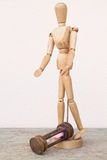 Wood mannequin and hourglass unfortunately time Royalty Free Stock Photos