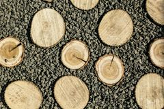 Wood with many stones on background royalty free stock image