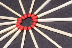 Wood matches in a circle Royalty Free Stock Photo