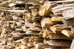Wood material. A pile of wood material ,they are used for fire burning Stock Photos