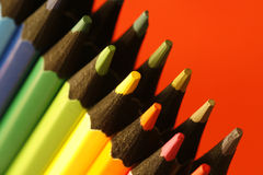 Wood material. A part of  pencils with a simple  colorful background Royalty Free Stock Photography