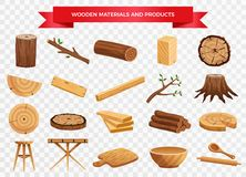 Wood Material Products Set. Wood material and manufactured products set with tree trunk branches planks kitchen utensils transparent background vector vector illustration