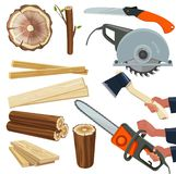 Wood materials. Wooden production and cut woodworking equipment cutting tools forestry pile vector isolated pictures. Instrument in hand hold, holding sawmill vector illustration