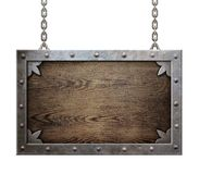 Wood medieval sign with metal frame isolated Stock Photos