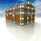 Wood metal chest with treasure and blue sky Stock Photography