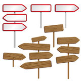 Wood and metal road signs Stock Images