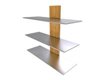 Wood Metal Shelf Stock Photo