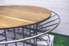 Wood and metal table Royalty Free Stock Photography