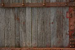 Wood and Metal Wall Royalty Free Stock Images