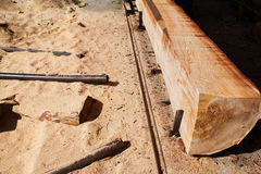 Wood mill processing trunk Stock Images
