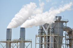 Wood Mill Smoke Stacks Stock Images