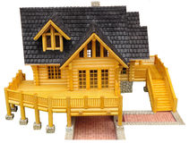 Wood model of house. Isolated wood model of house Royalty Free Stock Photo