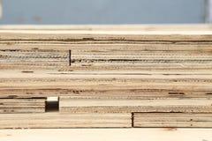 Wood modell på konstruktionsplatsen Arkivfoto