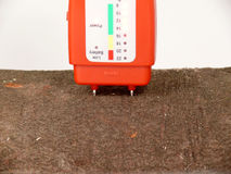 Wood moisture meter. In action Royalty Free Stock Photos