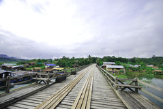The wood Mon bridge in Sangkhlaburi Royalty Free Stock Images