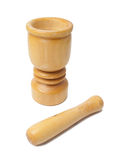 Wood Mortar with Pestle Stock Photos