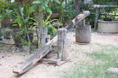 Wood mortar. In a thailand traditional house Stock Image
