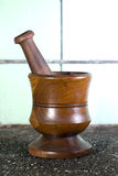 Wood mortar Stock Photo