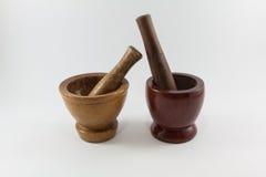 Wood mortel Arkivbild