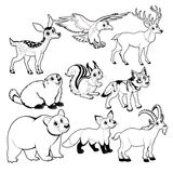 Wood and mountain animals in Black and white Royalty Free Stock Image