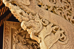 Wood naga sculpture Royalty Free Stock Photography