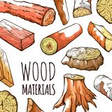 Wood natural material, logs in brown water color royalty free illustration