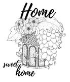 Wood nesting box. Pattern for coloring book, tattoo, poster. Stock Image
