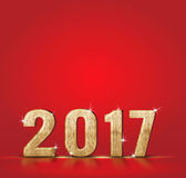 Wood 2017 new year number on red studio background, Template for. Adding your content ,Holiday concept Royalty Free Stock Images