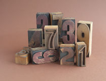 Wood numbers group Royalty Free Stock Photography