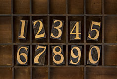 Wood numbers - vintage letterpress type. Ten arabic numerals from zero to nine, vintage wood letterpress blocks stained by black ink in old typesetter case with royalty free stock images
