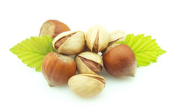 Wood nut and pistachios Royalty Free Stock Image