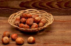Wood nuts in a basket Royalty Free Stock Photography