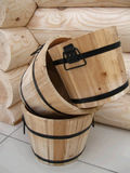 Wood objects. Samples wood pails and  part of framework Royalty Free Stock Photography
