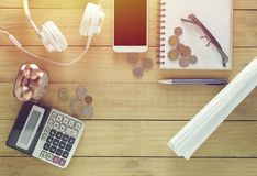 Wood office desk table with a lot of things on it Stock Images