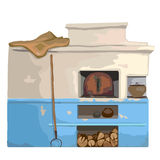 Wood old burning stove, Slavic cartoon style Royalty Free Stock Photo
