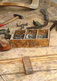 Wood and old tool Stock Image