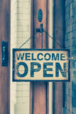 Wood open sign board Stock Image