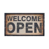Wood open sign isolated Stock Photos