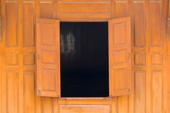 Wood Open window and wood wall  thai style house Royalty Free Stock Images