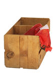 Wood orange crate with empty net sack isolated. Stock Images