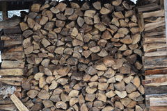 Wood in the outdoor firewood pile Royalty Free Stock Image