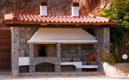 Wood oven . Traditional wooden oven, installed in the courtyard of the Greek houses Stock Images