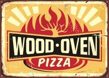 Wood oven fired pizza vintage metal sign stock illustration