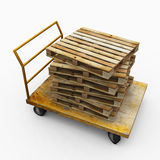 Wood Palettes on Cart Stock Image