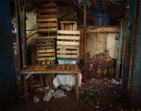 Wood pallet boxes stacked near bamboo table photo taken in jakarta indonesia. Java Royalty Free Stock Photo