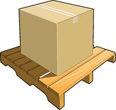 Wood Pallet with Cardboard Box Stock Image